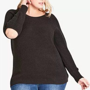City Chic Trendy Plus Size Elbow Cutout Sweater